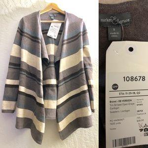 Market & Spruce open drape cardigan striped S